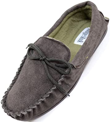 Mens Traditional Genuine Suede Leather Moccasin/Slippers with Rubber Sole - Brown - 7 US