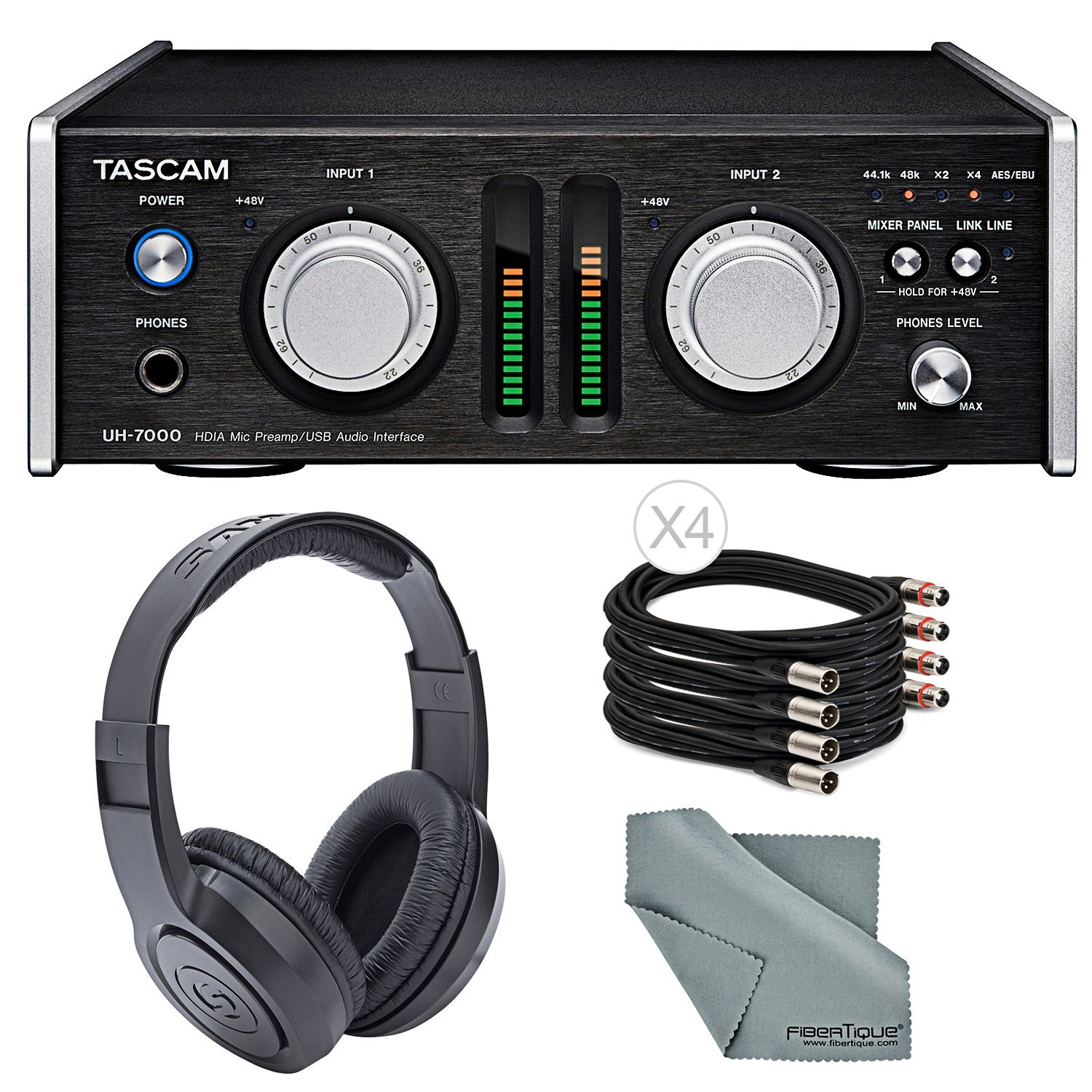 Tascam UH-7000 USB Interface and Standalone Mic Preamp Bundle w/Headphones+Cable and FiberTique Cloth