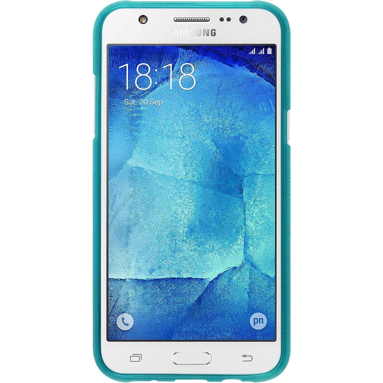 PhoneNatic Samsung Galaxy J5 (J500) Azul Silicona Carcasa Brushed con 2 x – Protector de Pantalla