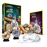 NATIONAL GEOGRAPHIC Break Open 10 Premium Geodes – Includes Goggles, Detailed Learning Guide and 2 Display Stands - Great STEM Science gift for Mineralogy and Geology enthusiasts of any age