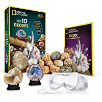 National Geographic Break Open 10 Premium Geodes – Includes Goggles, Detailed Learning Guide & 2 Display Stands - Great…
