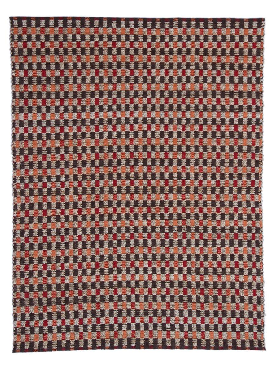 KADIMA DESIGN Teppich Chess 110 Natur/Rot 80cm x 150cm In sorgsamer Handarbeit gefertigt. Natürlicher Look.