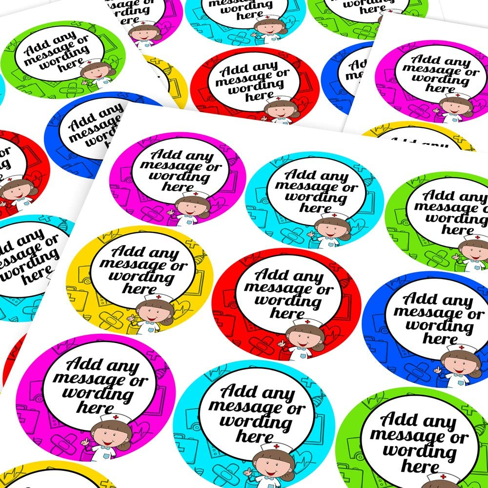 Custom Sticker Labels Parents Graphic Flavour Brave for the Nurse Personalised Teachers Children 6 Stickers @ 9.5cm