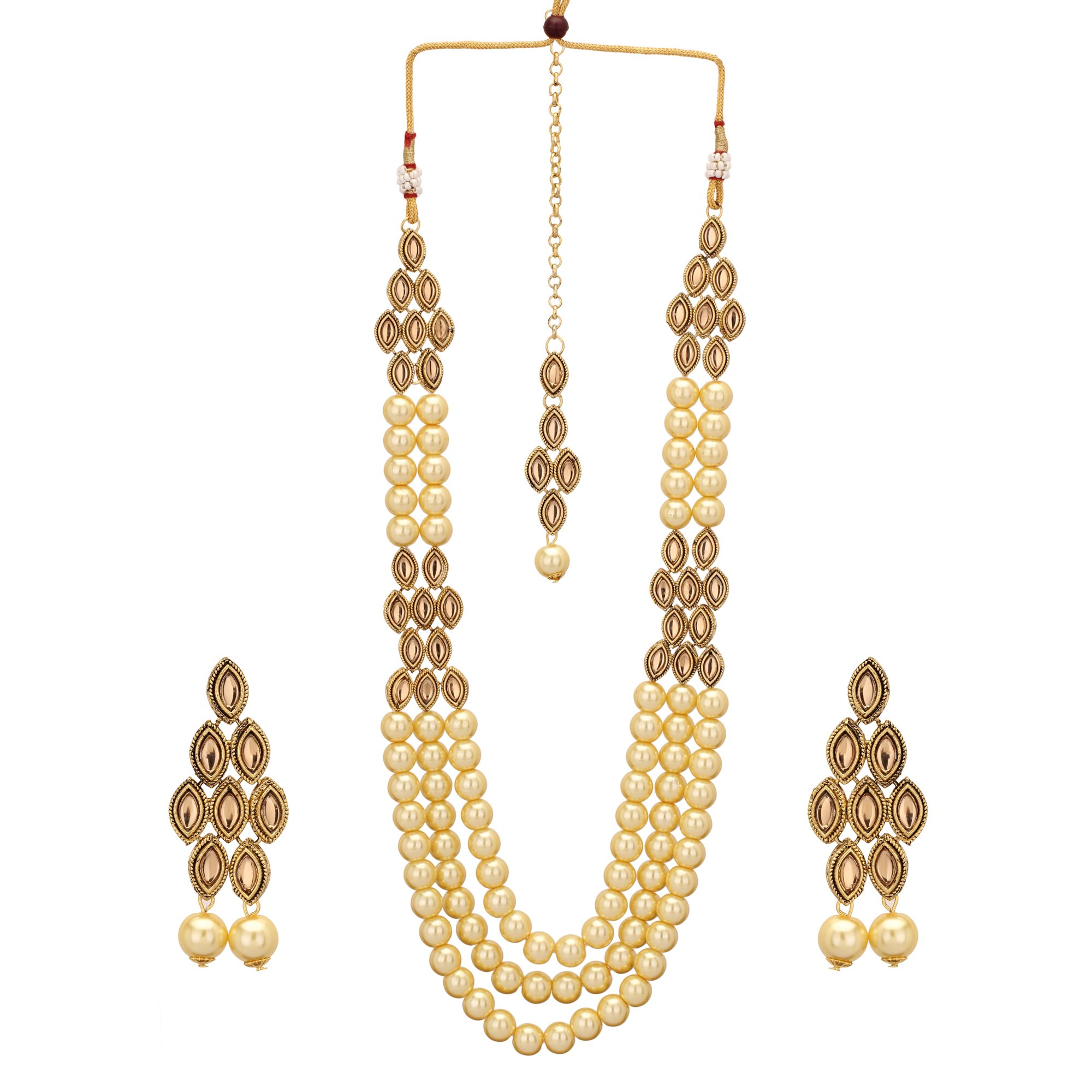 Jwellmart Indian CZ Traditional Bridal Wedding Party Wear Kundan Necklace Set for Women and Girls (Brown)