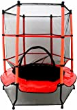 """Oypla 55"""" Kids First Trampoline with Safety Net Enclosure & Red Cover Garden Outdoors"""