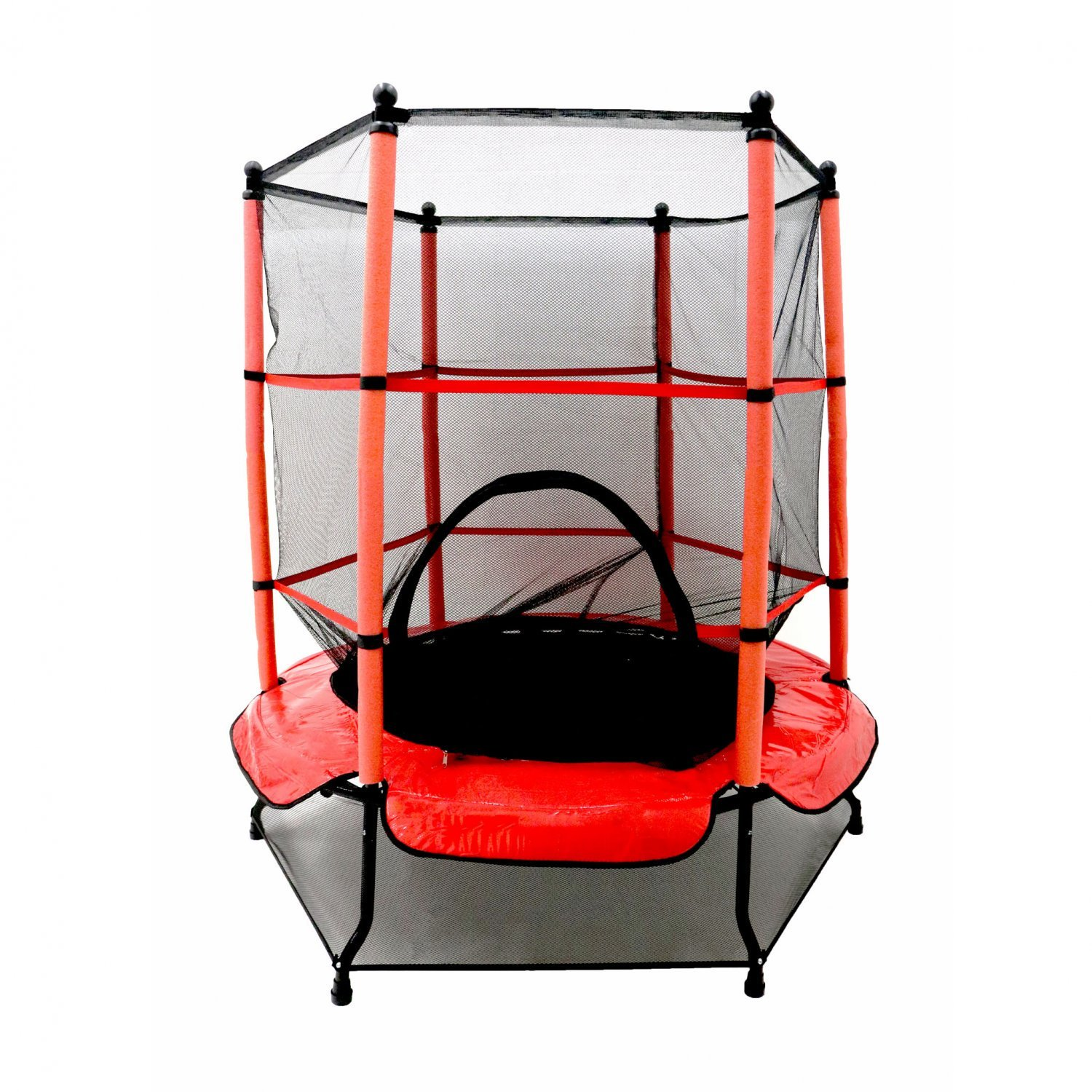 "Oypla 55"" Kids First Trampoline with Safety Net Enclosure & Red Cover Garden Outdoors"