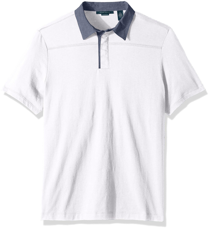 Perry Ellis Mens Heathered Collar Pima Cotton Polo At Amazon Mens