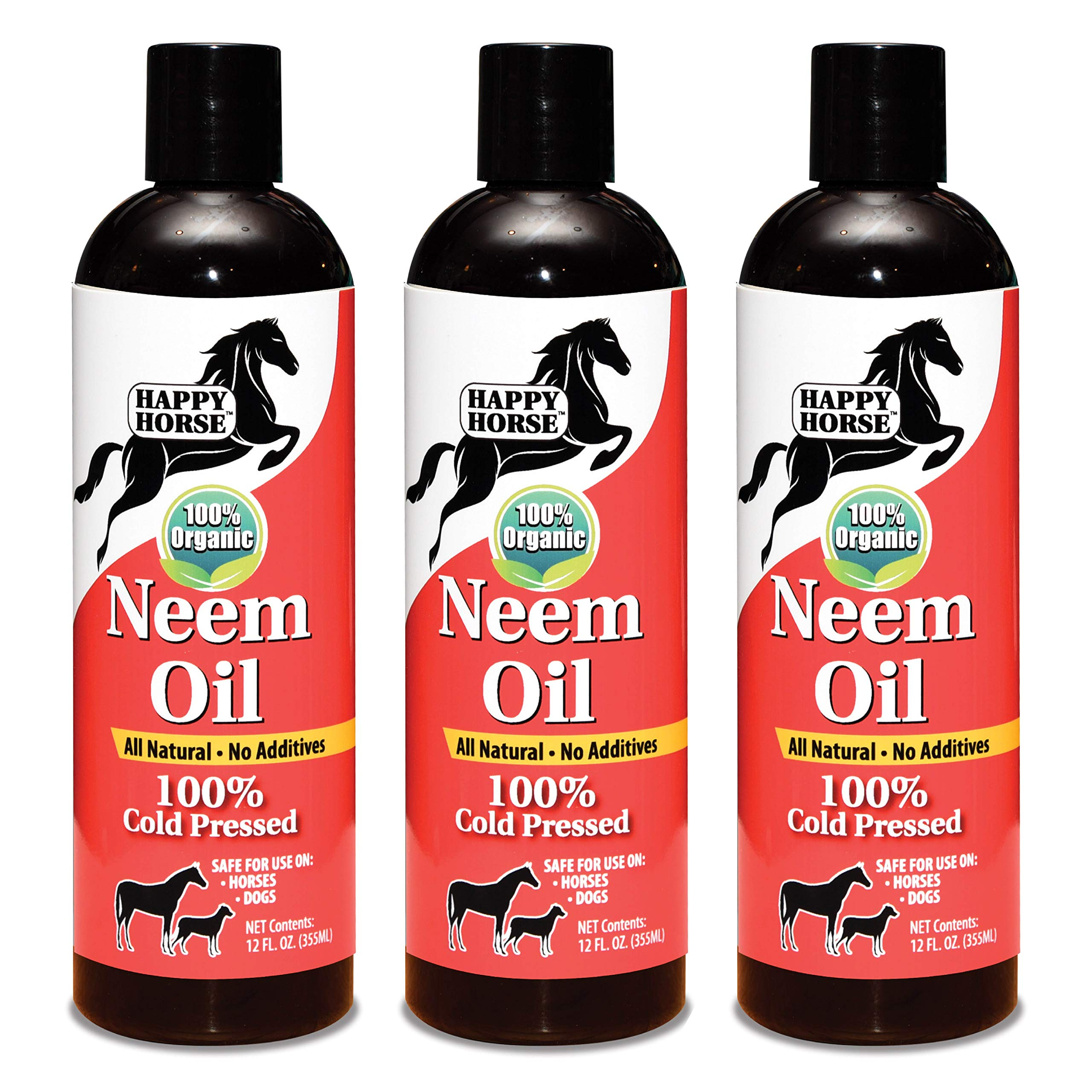 Happy Horse Neem Oil, 100% Cold Pressed and Unrefined, Cosmetic Grade, 12oz (3-Pack)