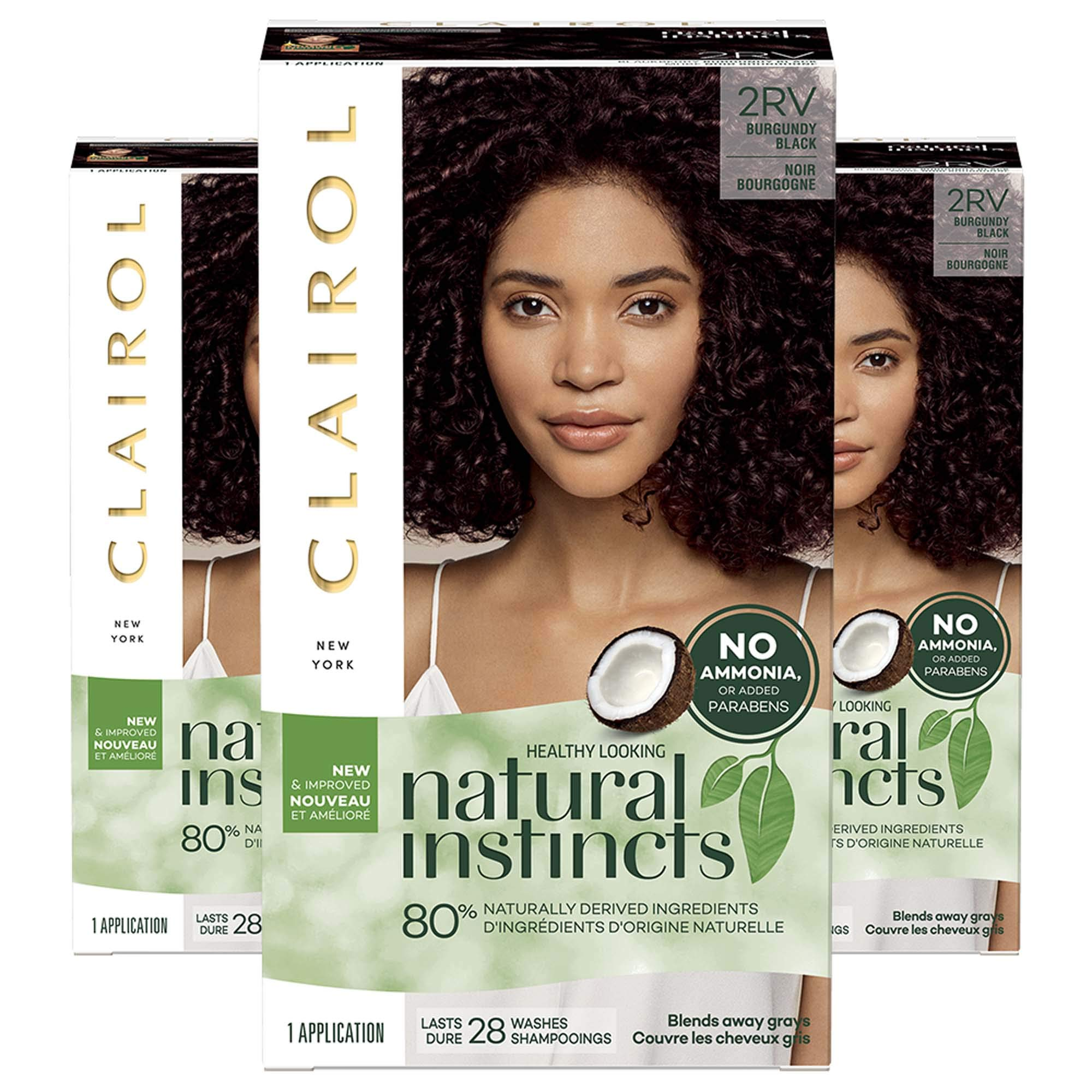 Clairol Natural Instincts, 2RV Burgundy Black, Blackberry, 3 Count by Clairol