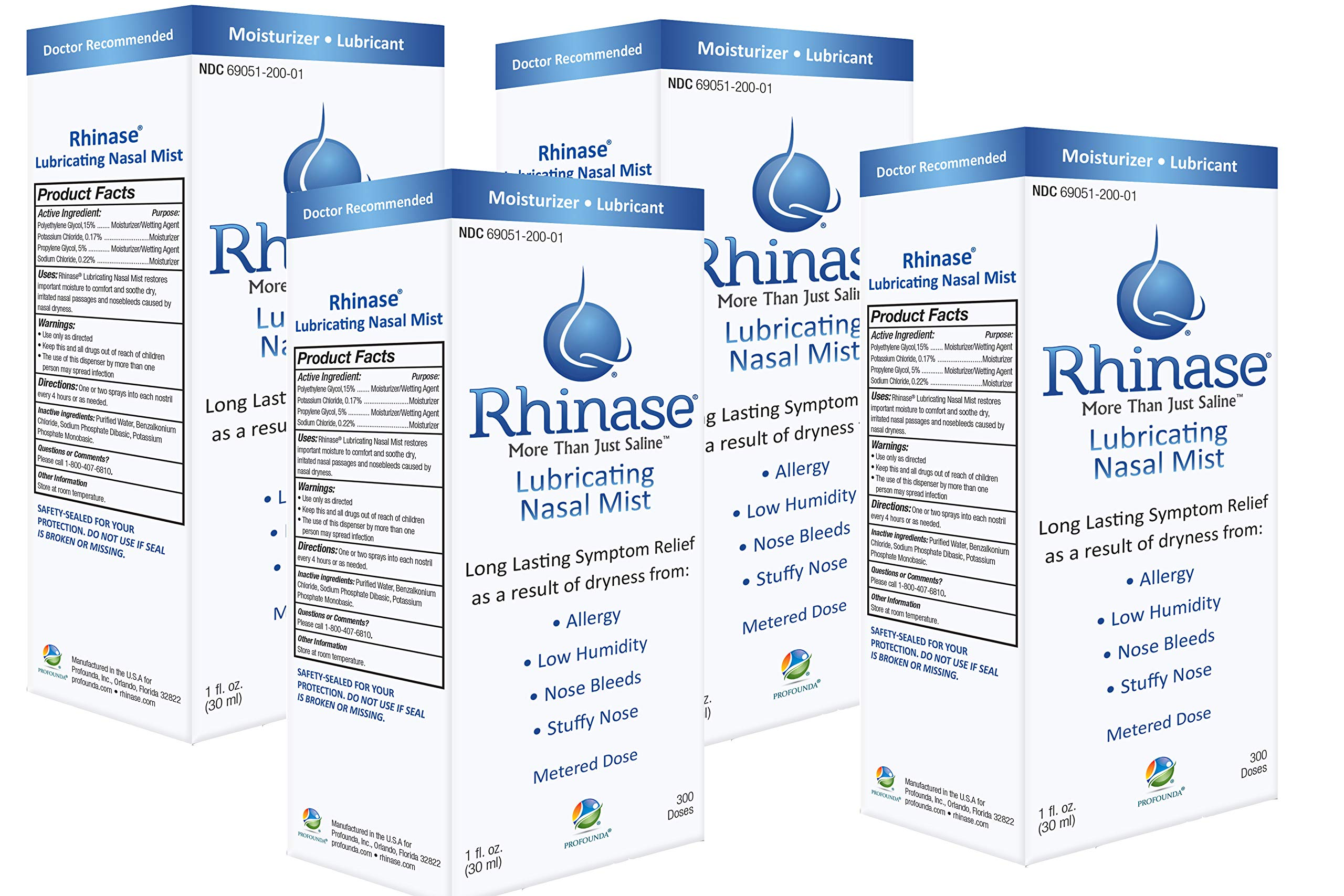 Rhinase Nasal Mist 1 oz (4 Pack) for Dry Nose, Allergy and to Prevent Nosebleeds Caused by Nasal Dryness by Rhinase