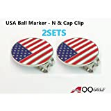 2sets of A99 Golf USA Flag Golf Ball Marker - N with with Magnetic Golf Cap Clip Hat Visor Clip