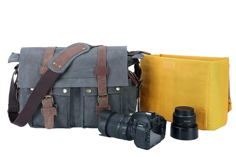 Buy Peacechaos Messenger Bag Leather Canvas Shoulder Bookbag Laptop Bag + Dslr  Slr Camera Canvas Shoulder Bag (Dark Grey(2)) Online at Low Price in India  ... f70d402aee