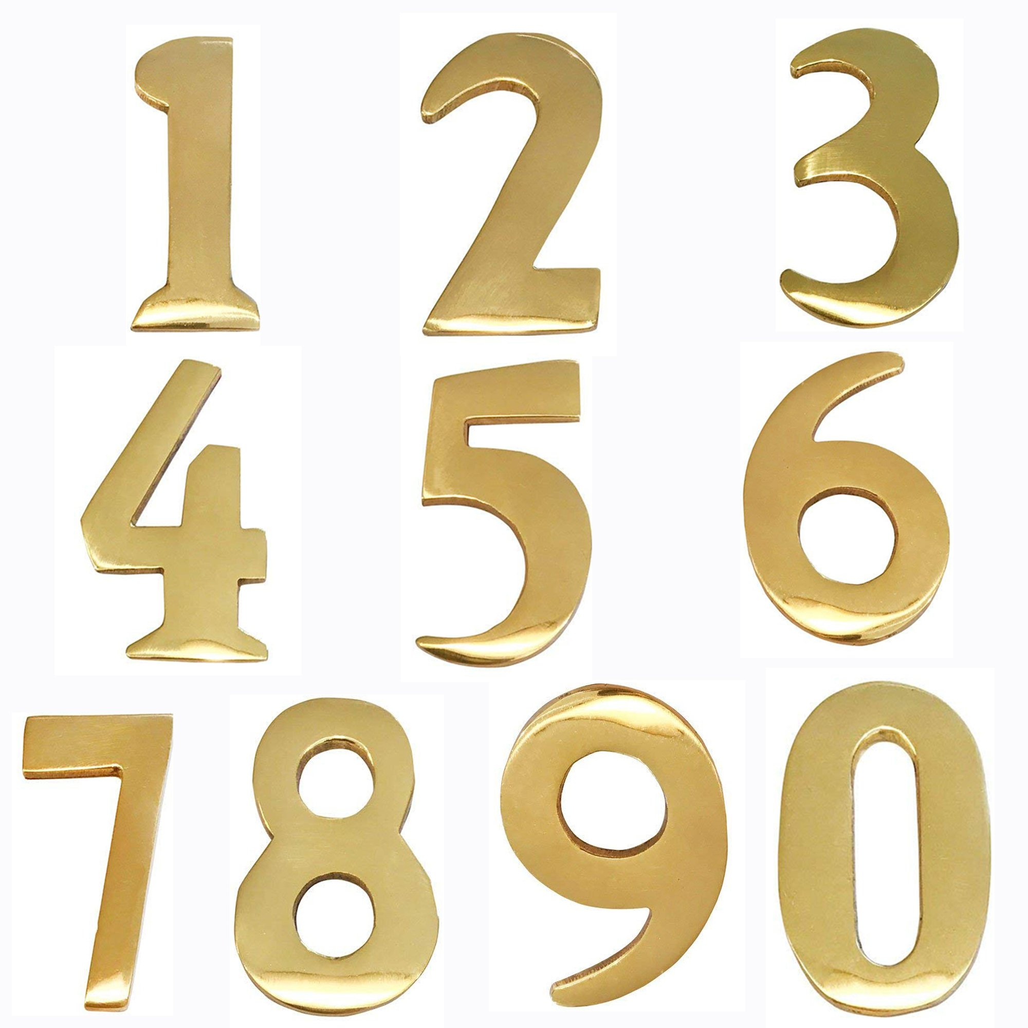 ADDRESSES OF DISTINCTION 8 Customized 2-Inch Brass Mailbox Numbers - Pick Your Numbers - Self Adhesive - Williamsburg Font - Won't Tarnish - Numbering for Address Plaque by ADDRESSES OF DISTINCTION