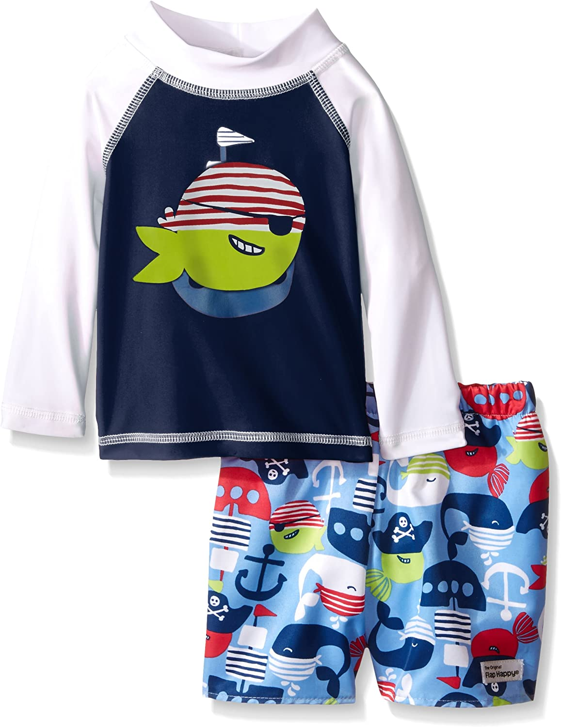 Graphic Rash Guard and Infant Swim Diaper Trunk Set Flap Happy Baby Boys Upf 50