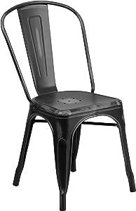 Flash Furniture Distressed Black Metal Indoor-Outdoor Stackable Chair
