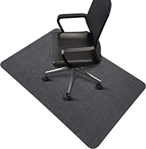 "Office Chair Mat, Upgraded Version - Desk Chair Mat for Hard Floors, 0.16"" Thick, 55""x35"" Low-Pile Chair Mat for Hardwood Floors, Multi-Purpose Protector Chair Carpet for Home (Dark Gray)"
