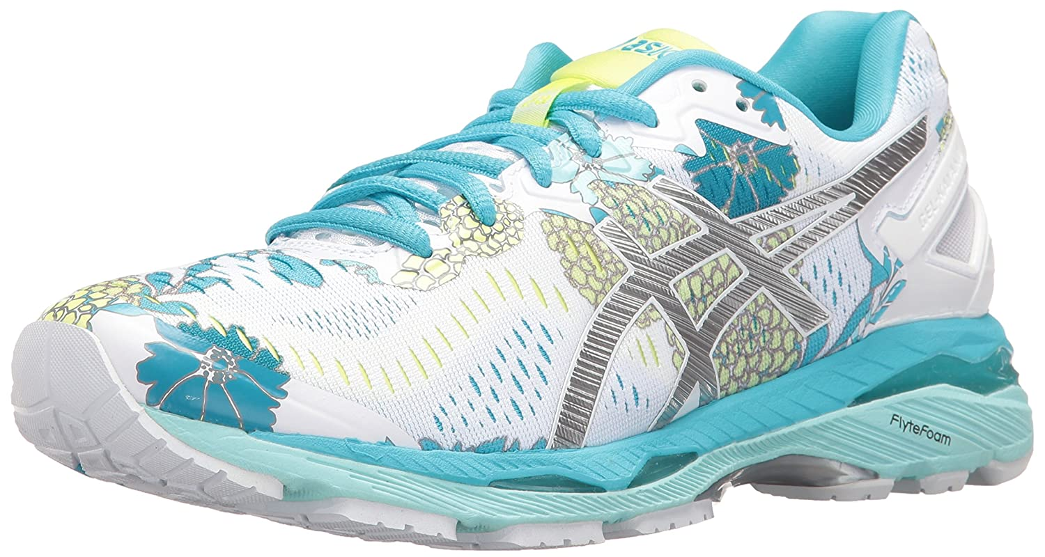 ASICS Women's Gel-Kayano 23 Running Shoe B01GSYV442 10 B(M) US|White/Silver/Aquarium