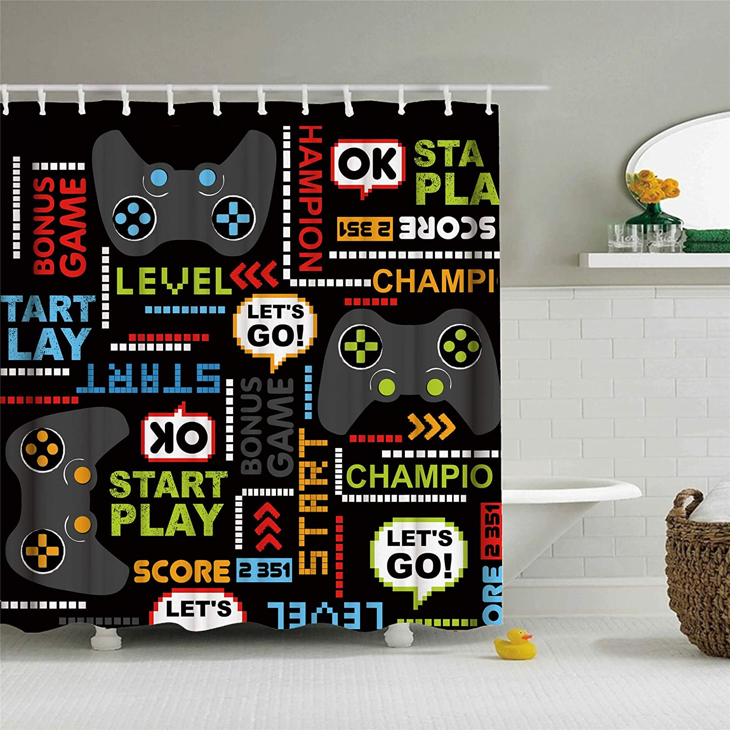 Gaming Shower Curtain Modern Video Games Design Shower Curtain for Kids Boys Girls Teens Waterproof Polyester Fabric Bathroom Decor Set with 12 Hooks, 72x72 Inch