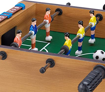 Relaxdays Futbolín de Mesa para 2 Jugadores, Color Green-Brown, 11 ...