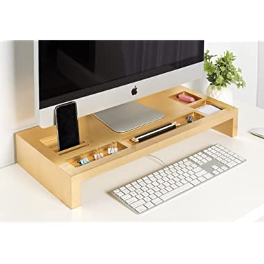 Kate and Laurel Briggs Wood Monitor Riser Desk Organizer, Gold
