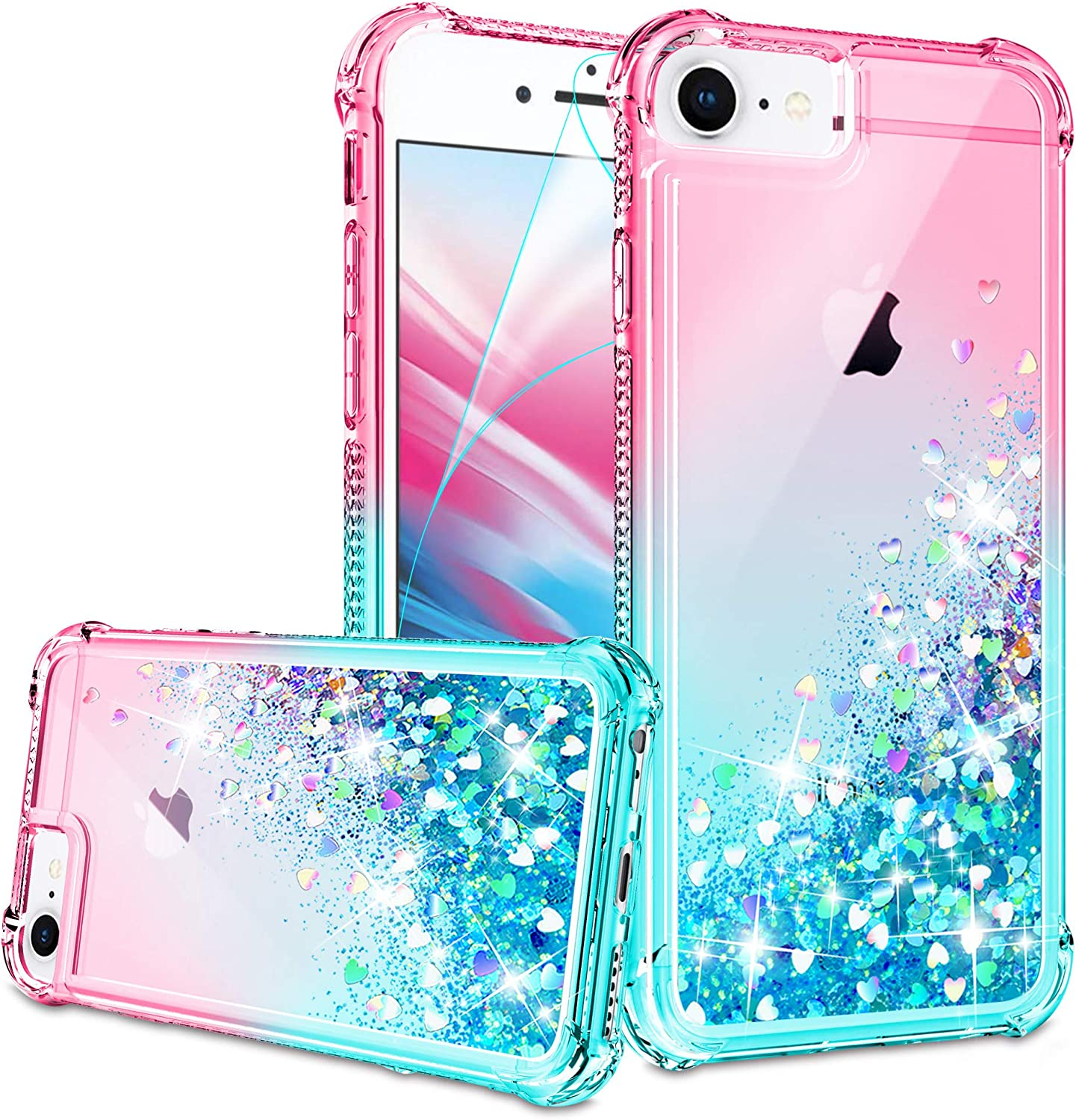 iPhone SE 2020 Case, iPhone 6/6S/7/8 Case with HD Screen Protector for Girls Women, Gritup Cute Clear Gradient Glitter Liquid TPU Slim Phone Case for Apple iPhone SE 2020/6/6S/7/8 Pink/Teal
