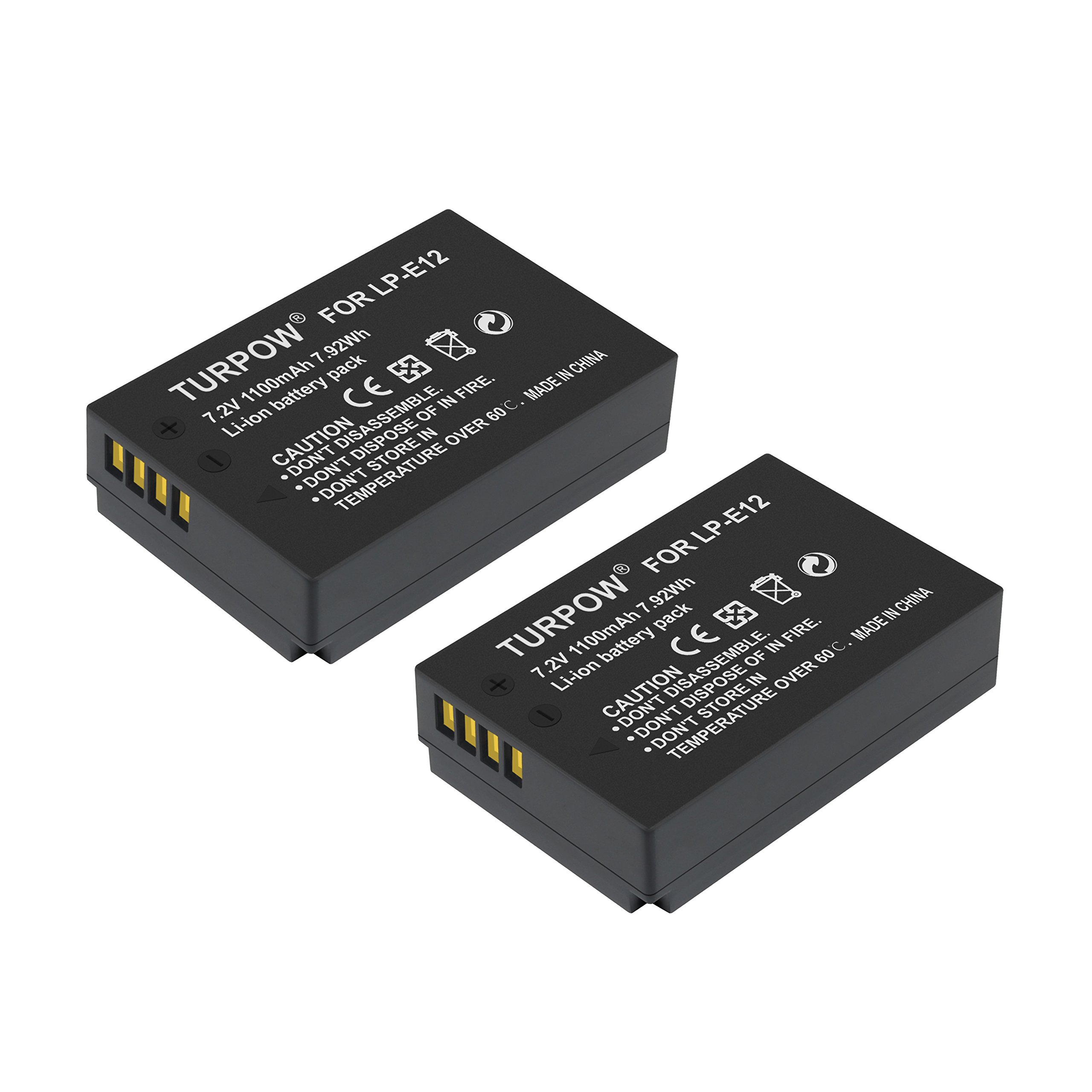 LP-E12 Battery-Turpow 2 Pack LP-E12 Camera Batteries Replacement Lithium-ion Battery for Canon Rebel SL1 EOS-M EOS M2 EOS M10 EOS M50 EOS M100 EOS 100D Mirrorless Digital Camera