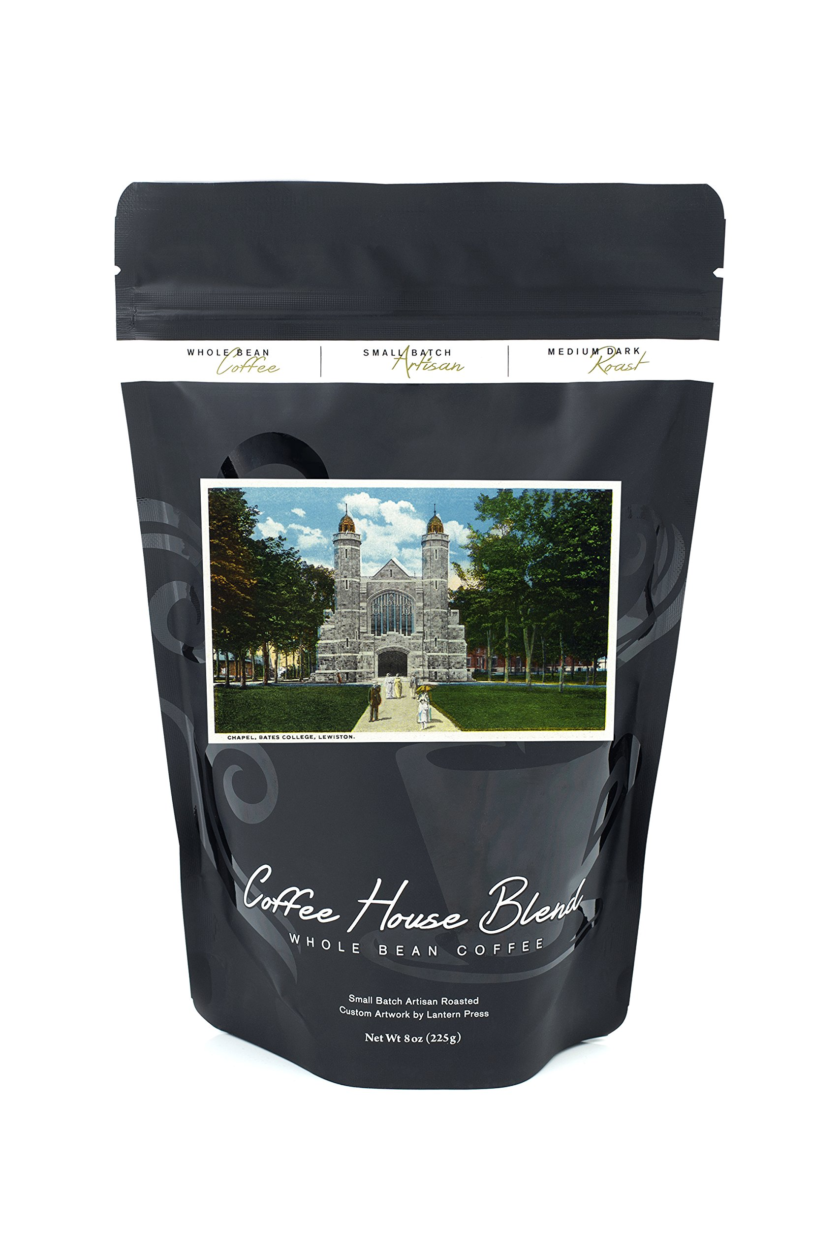 Lewiston, Maine - Exterior View of Bates College Chapel (8oz Whole Bean Small Batch Artisan Coffee - Bold & Strong Medium Dark Roast w/Artwork)