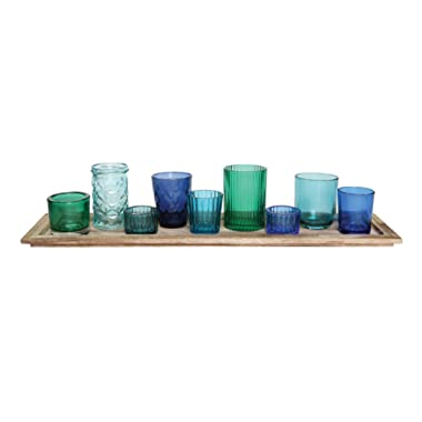 Creative Co-op DA5406 Wood Tray with 9 Blue & Green Glass Votive Holders