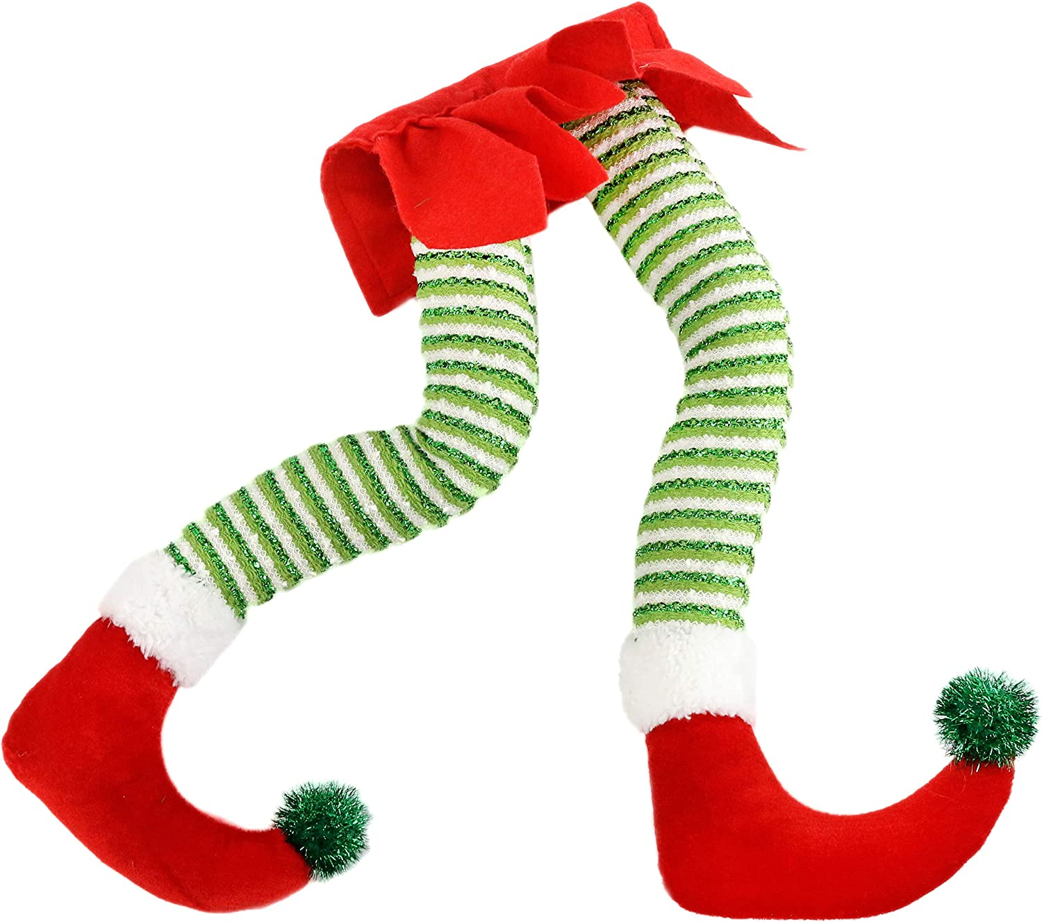 Athoinsu 16'' Elf Legs Christmas Tree Decorations Glitter Stuffed Leg Xmas Holiday Home Party Ornaments Gifts for Kids Toddlers Family(Red)