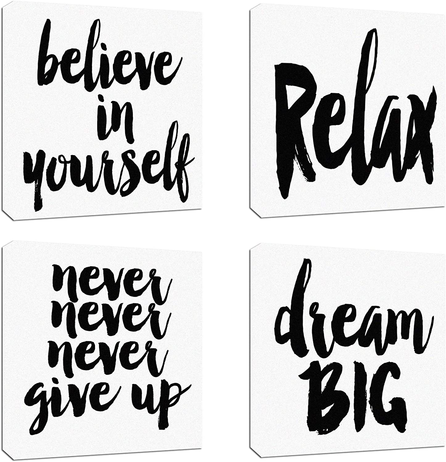 """4Pcs x Canvas Wood Stretched Motivational Quotes Letter Words Success Fabric Print Framed Combine Modern Landscape Abstract Art For Home Room Office Wall Print Decor 12x12"""" (30x30cm)(61-64)"""