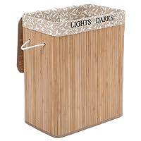 SONGMICS 100L Wäschekorb Bambus Faltbar Wäschebox mit 2 Fächern Wäschetonne mit Herausnehmbaren Wäschesack