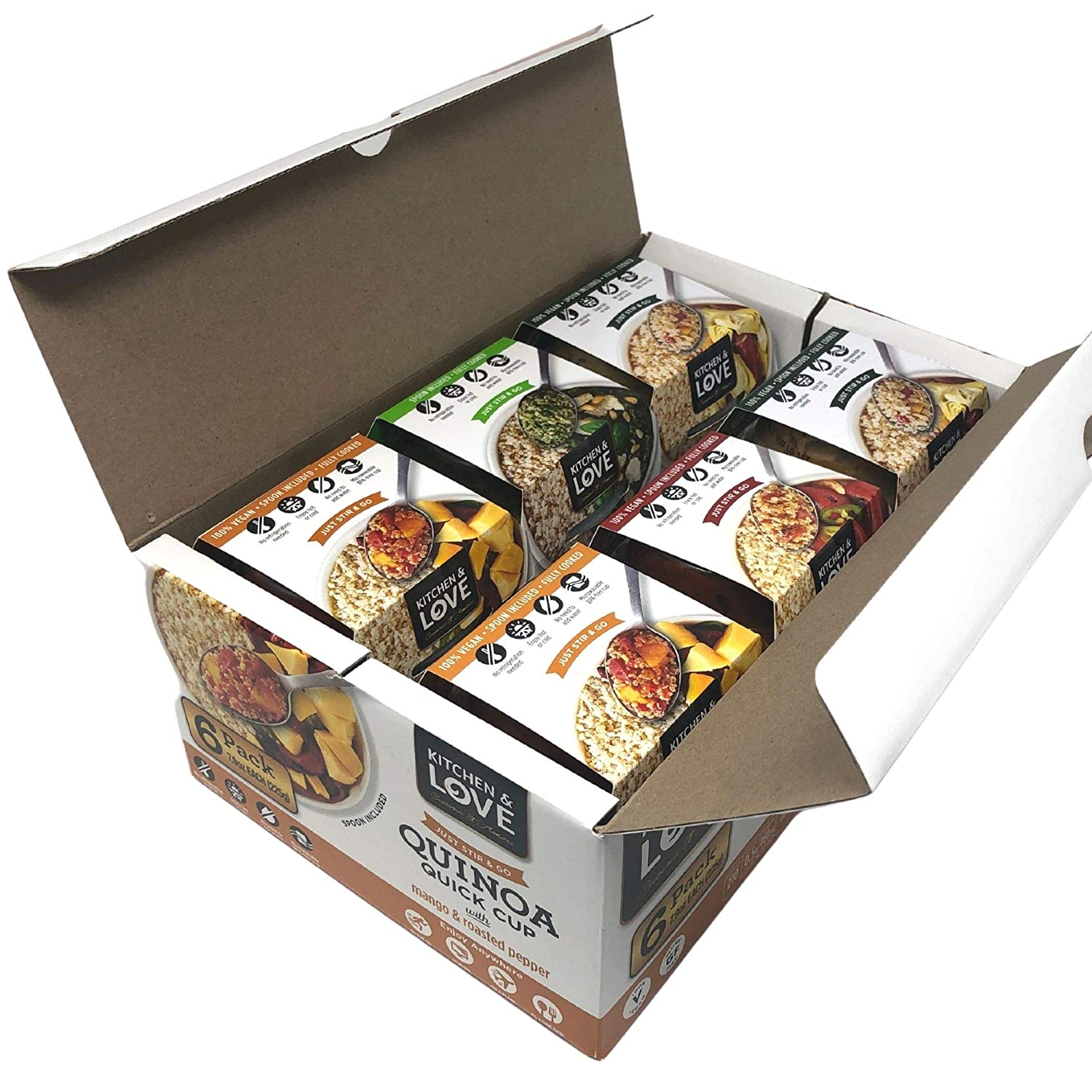 Kitchen & Love Quinoa Quick Meal Variety Box 6-Pack | Gluten Free, Ready-to-Eat, No Refrigeration Required