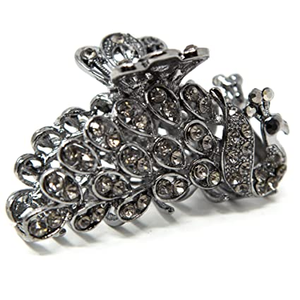 zNew White//Black//colorful Crystal High Quality Metal peacock hair claws clips
