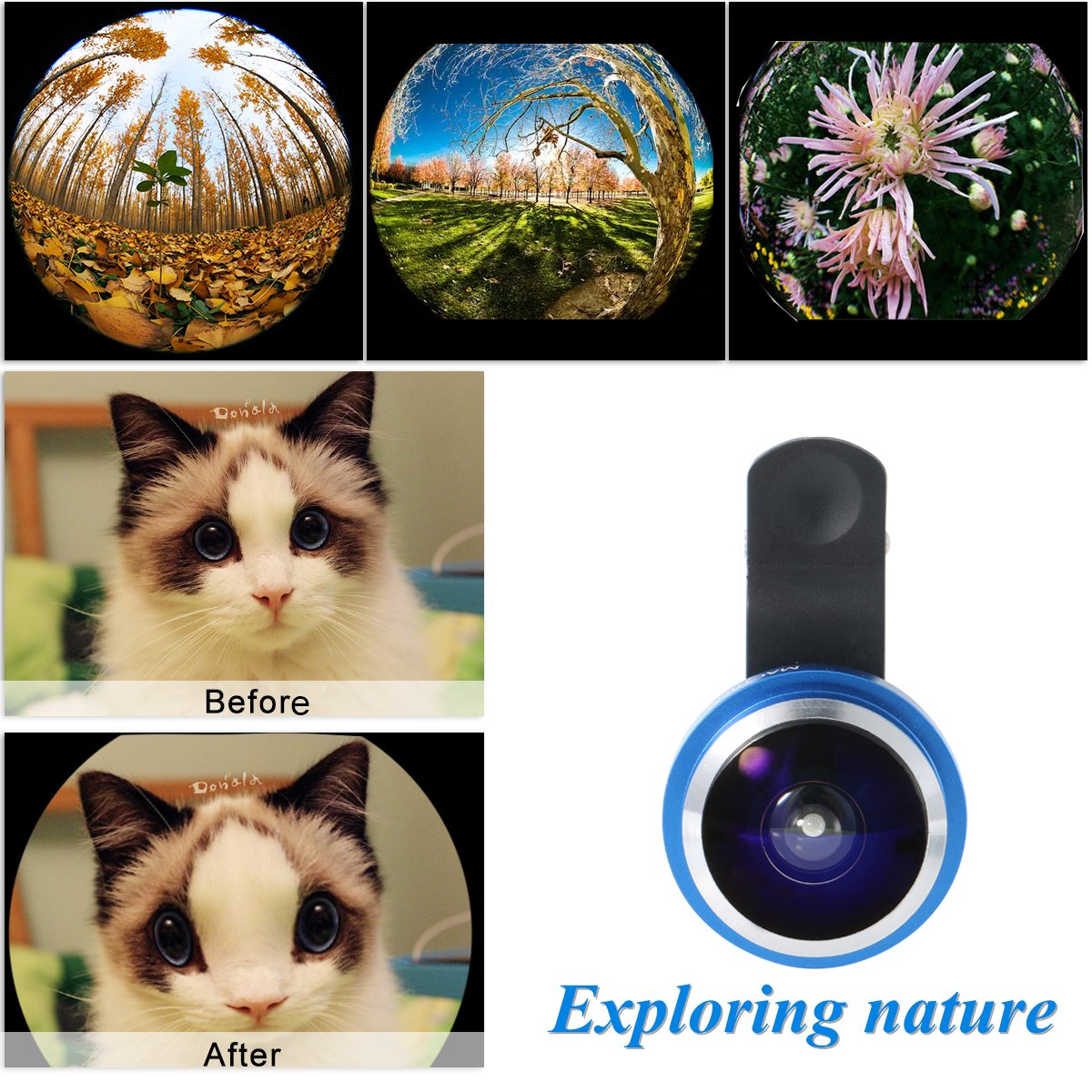 Mactrem 235° Fisheye Smartphone Lens, Works with Most Smartphones, for iPhone 7/7 Plus/6/6s/6s Plus/5/5s/4/SE/Samsung S7 S6 S5 HTC Huawei