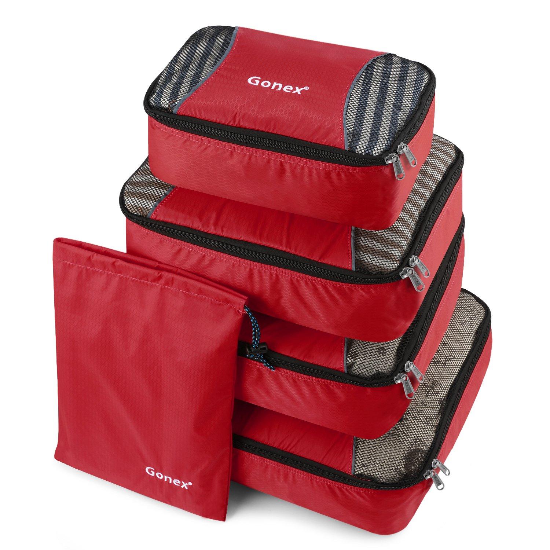 Gonex Packing Cubes Travel Luggage Packing Organizer, Laundry Bag Included (Orange)