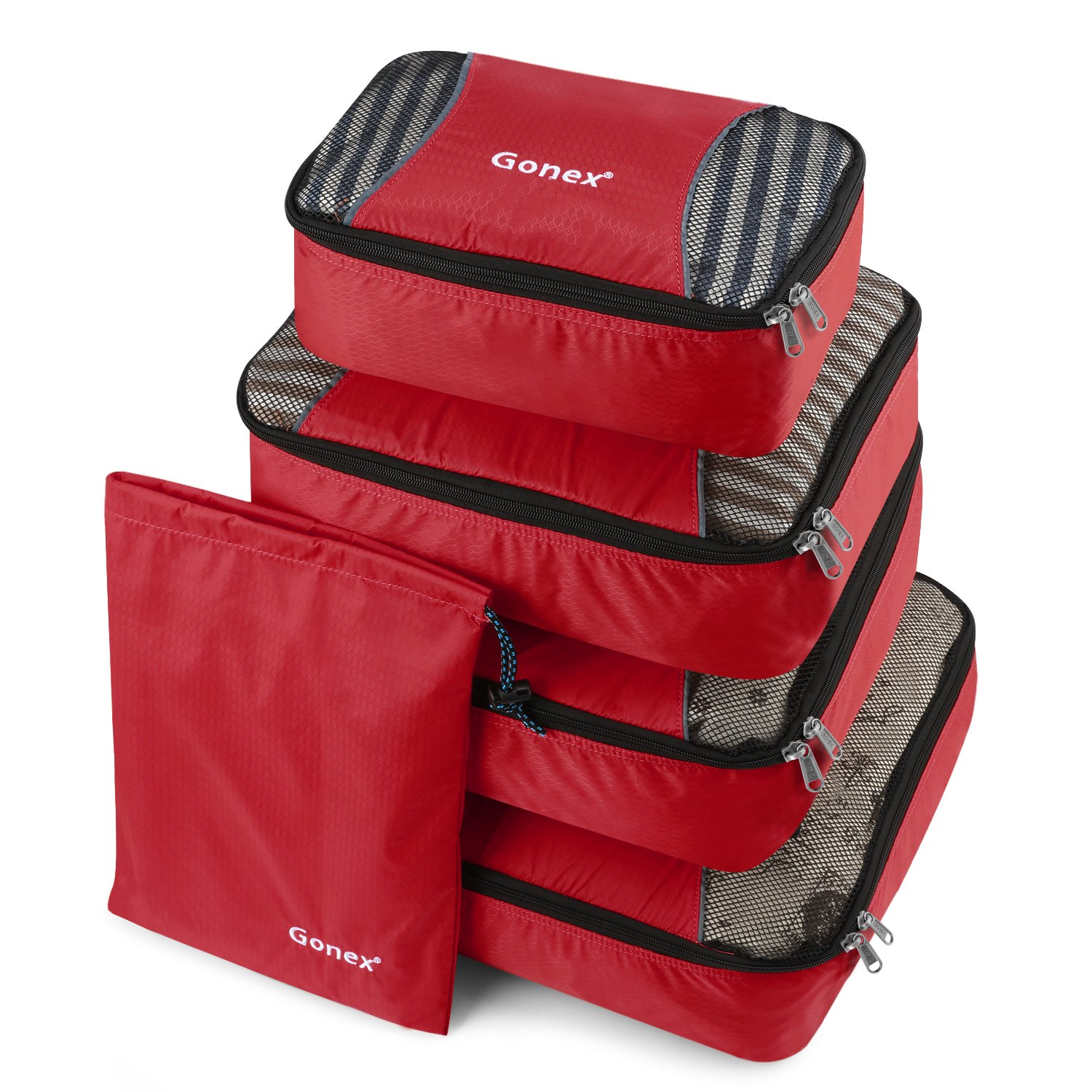 Gonex Packing Cubes Travel Luggage Packing Organizer,Laundry Bag Included (Red) product image