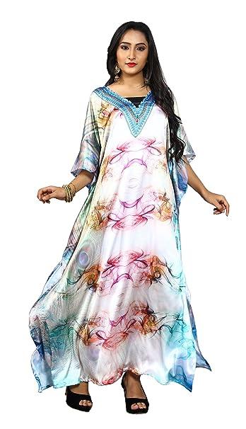 ed107adbe94f Justkartit Women s Multi Color V-Neck Free Size Printed Satin Silk Kaftans   Amazon.in  Clothing   Accessories
