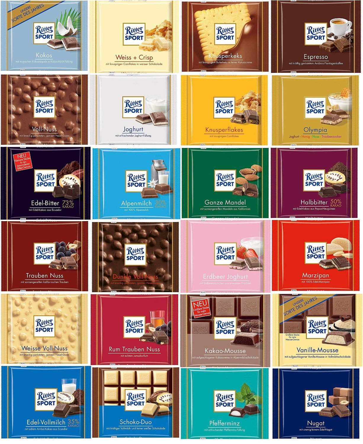 Amazon.com : Ritter Sport Chocolate Gift Set 24 X 100g : Grocery ...