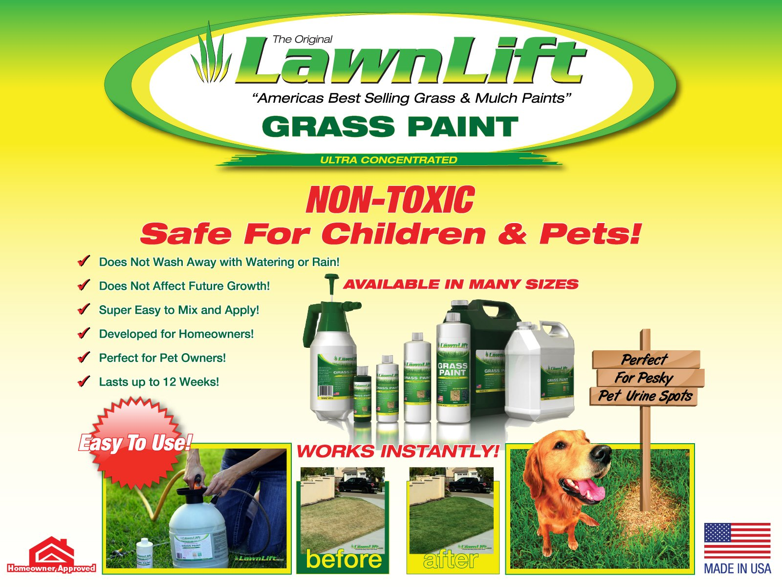 Lawnlift Ultra Concentrated (Green) Grass Paint 6 Gallon Case = 66 Gallons of Product covers 24,000 sq feet