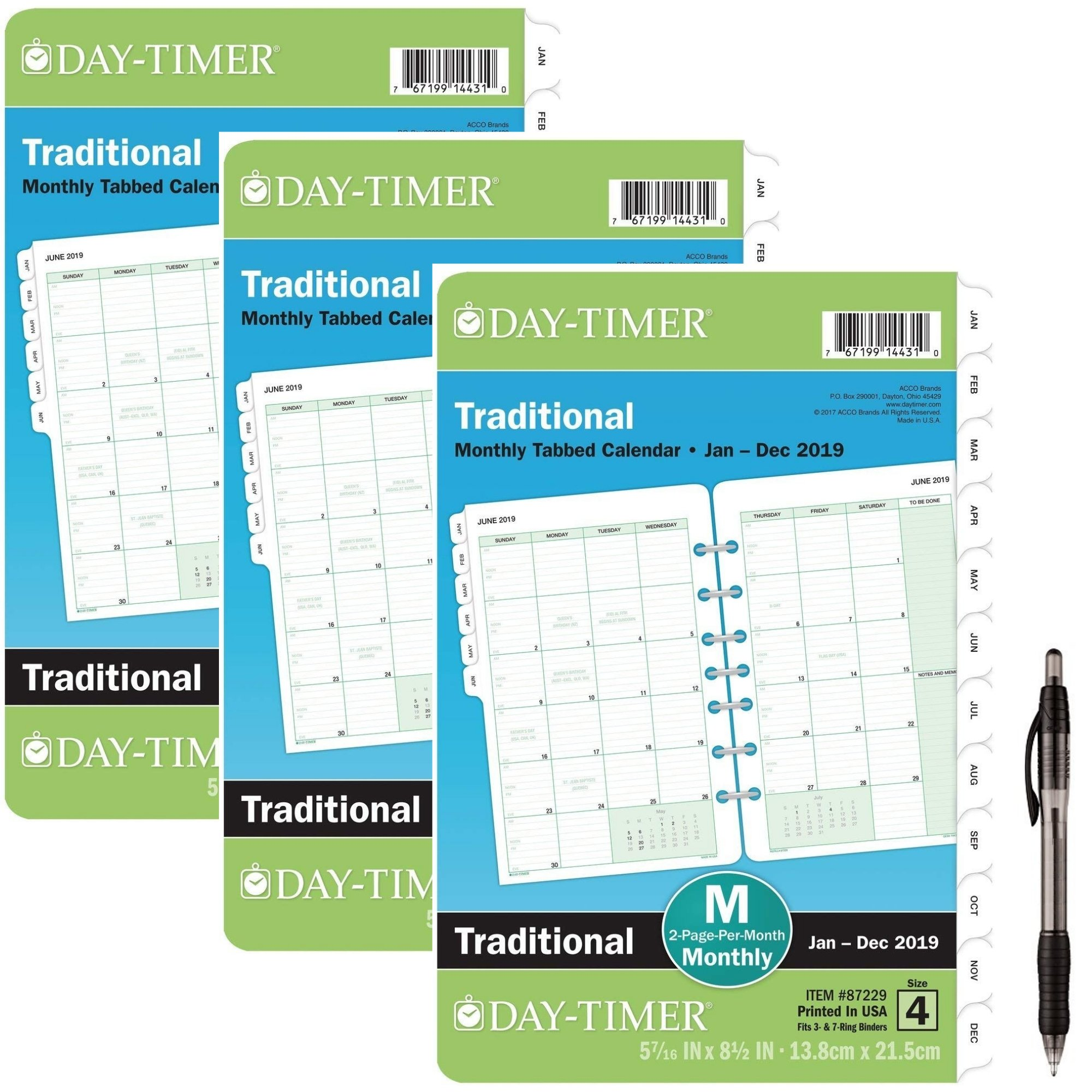 Day-Timer Refill 2019, Two Page per Month, January 2019 - December 2019, 5-1/2'' x 8-1/2'', Loose Leaf, Desk Size, Classic (87229) 3 Pack- Bundle Includes 1 Black Ballpoint Pen