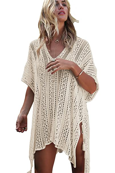 7545bf68e3 Chilly Jilly Bohemian Crochet Swim Cover up Bikini Tunic Beach Dress with  Side Tie Tassels (