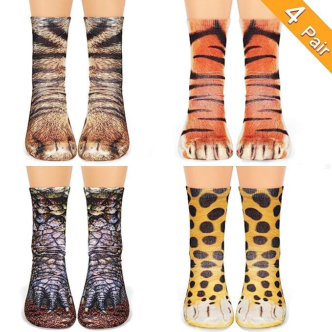 b80469044358 Animal Print Paw Crew Socks 4 Pair Novelty Funny 3D Socks Dinosaur Tiger  Leopard Cat Paw Socks for Women Men Boys Girls Kids at Amazon Men's  Clothing store: