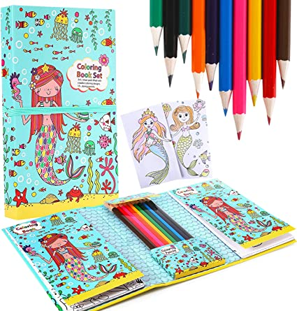 Amazon.com: Mermaid Coloring Pads Set For Girls, Mess Free Coloring  Activity Notebook, 60 Coloring Pages And 10 Coloring Pencils For Drawing  Painting, Birthday Gift For Kids Age 2 3 4 5 6 7 8: Office Products