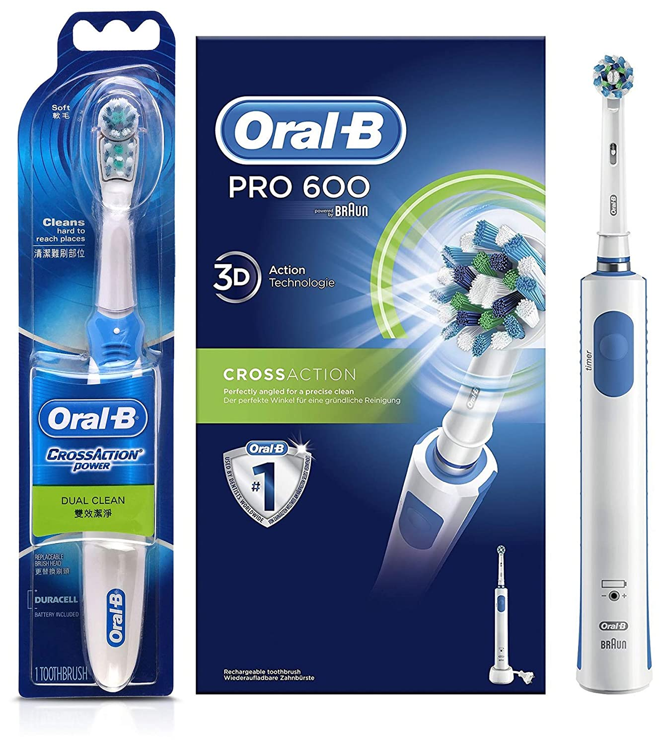 Oral B Cross Action Battery Powered Toothbrush Oral B Pro 600 Cross Action Electric Rechargeable Toothbrush Amazon In Health Personal Care
