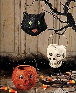 Set/3 Mini Pumpkin Cat Buckets Halloween Retro Vintage Style Figurine Decor