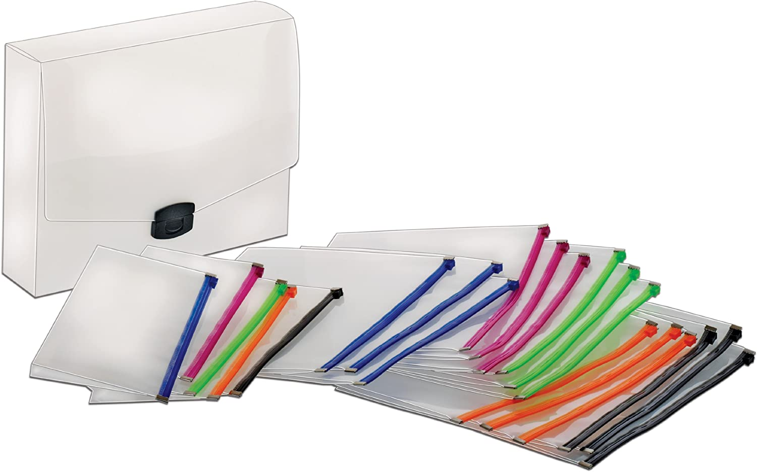 Globe-Weis/Pendaflex Poly Zip Files, 15 Letter Size, 5 Check Size, Assorted Colors (84200)