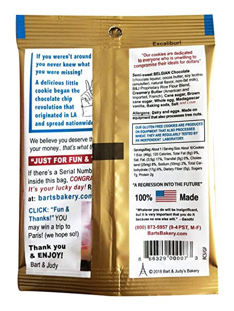 Bart's Bakery The Best Chocolate Chip Cookies in the World, Grab and Go,  1 6 Ounce Packets (Pack of 12)