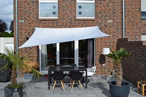 elfenbein Floracord 06-77-07-48 Vierecksonnensegel mit Regenschutz 3 x 4 m inklusive Zubeh/ör mit dauerelastischen Spanngurten