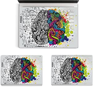 "MasiBloom 3 in 1 Laptop Sticker Decal for 13.5"" 13 inch Microsoft Surface Book 2015 Released Protective Cover Skin (for 13.5"" Surface Book (2015 Released), Decal- Brain)"