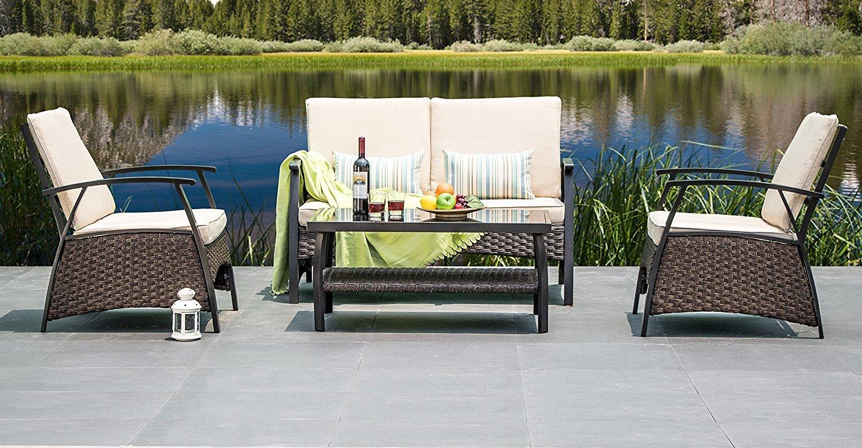 Outdoor Patio Furniture Wicker Sofa -4pc All Weather Conversation Set, Beige Cushions, 2 Stripe Throw Pillows By Suntone Brown(4Piece)